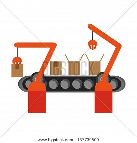 Conveyor belt factory industry icon Isolated vector illustration