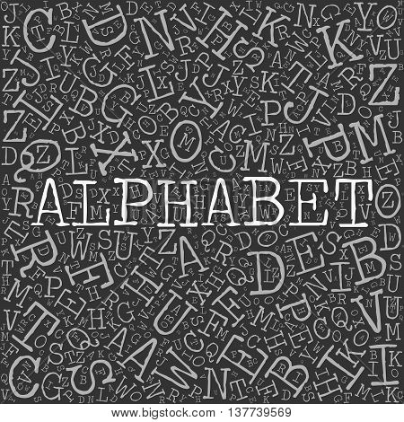 Alphabet theme with letter pattern on the background. Light vector letters with highlighted word Alphabet in typewriter font on dark grey background.