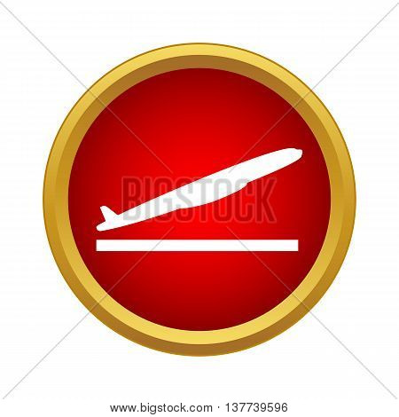 Plane takes off icon in simple style in red circle. Fly symbol