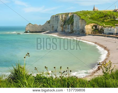 Alabaster cliffs and beach of Etretat, Normandy, France