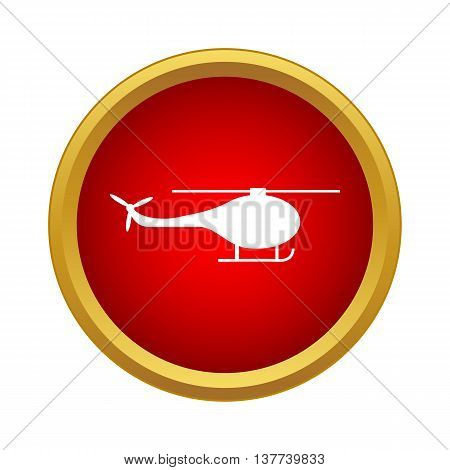 Helicopter side view icon in simple style in red circle. Fly symbol