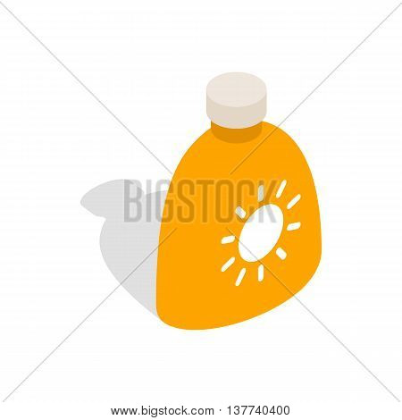 Cream sun protection icon in isometric 3d style isolated on white background. Protective symbol