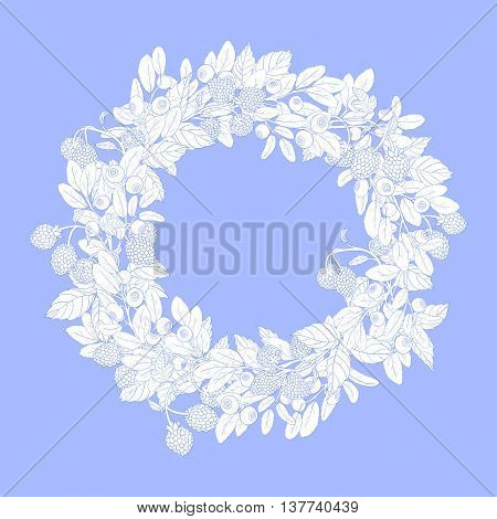 Round wreath or frame with sprigs of blueberries and raspberries on a blue background. The branches are painted blue tench and filled with white.Wreath isolated from the background.Vector illustration