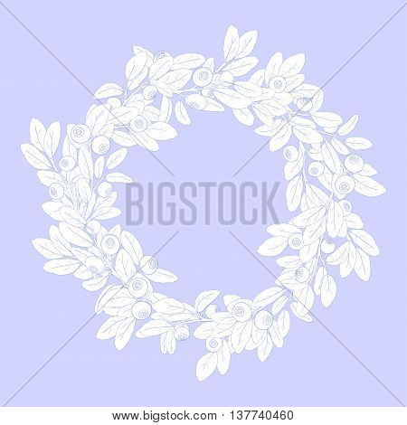 Round wreath or frame of branches of blueberry with berries on a blue background. The branches are painted blue tench and filled with white. Wreath isolated from the background. Vector illustration.