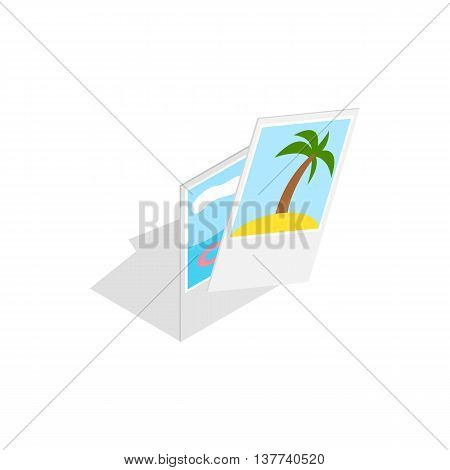 Photographs from vacation icon in isometric 3d style isolated on white background. Travel and tourism symbol