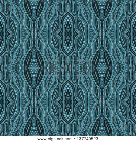 Seamless abstract pattern in blue tones. Regular twisted background in oriental style
