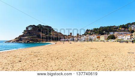 Tossa de Mar Castle view from the beach. Costa Brava Spain