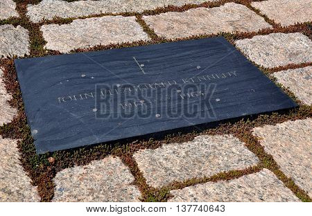 Arlington Virginia - April 12 2014: President John Fitzgerald Kennedy's gravesite at Arlington National Cemetery