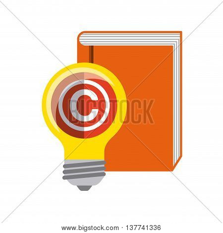 Copyright concept represented by book and bulb icon. Colorfull and flat illustration.