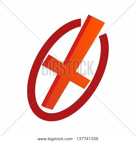 Cancel icon in isometric 3d style isolated on white background. Choice of action symbol