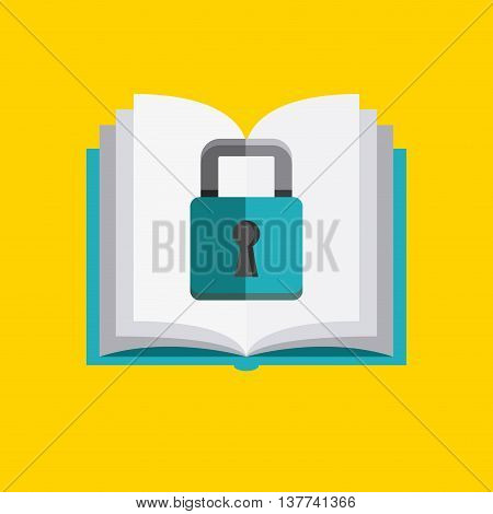 Copyright concept represented by book and padlock icon. Colorfull and flat illustration.