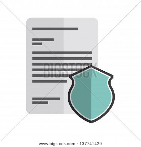 Copyright concept represented by document and shield icon. Colorfull and flat illustration.
