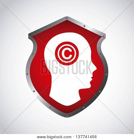Copyright concept represented by human head and c icon. Colorfull and flat illustration.