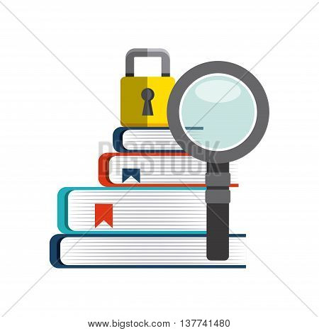 Copyright concept represented by book, lupe and padlock icon. Colorfull and flat illustration.