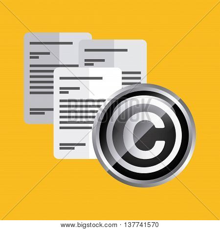 Copyright concept represented by document icon. Colorfull and flat illustration.