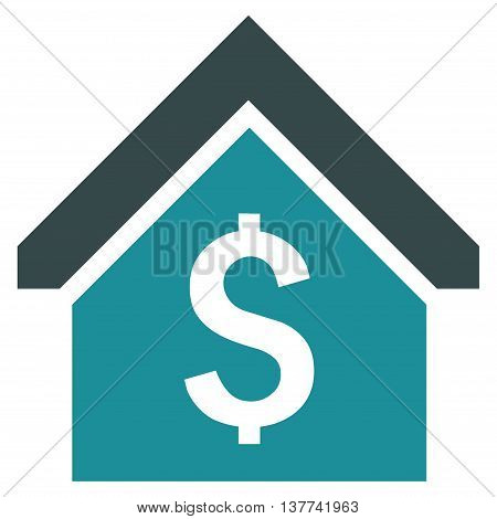 Loan Mortgage vector icon. Style is bicolor flat symbol, soft blue colors, white background.