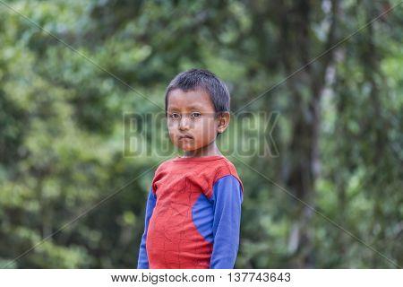 PUYO, ECUADOR, OCTOBER - 2015 - Portrait of amazonic indigenous ecuadorian kid with serious expression in Puyo Ecuador.