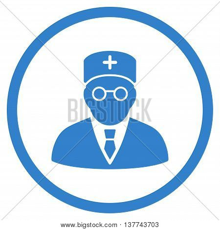 Main Physician vector icon. Style is flat circled symbol, cobalt color, rounded angles, white background.