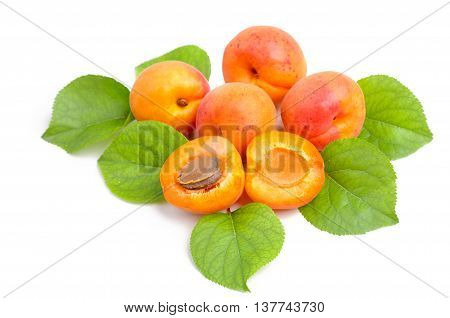 Fresh whole apricot and sliced fruit apricot with leaves isolated.
