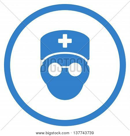 Medic Head vector icon. Style is flat circled symbol, cobalt color, rounded angles, white background.