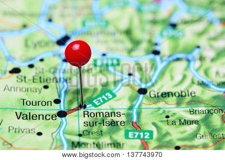 Romans-sur-Isere pinned on a map of France