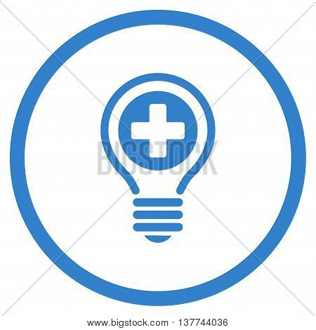 Medical Bulb vector icon. Style is flat circled symbol, cobalt color, rounded angles, white background.