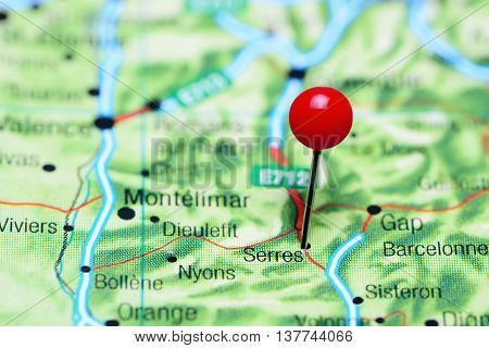 Serres pinned on a map of France
