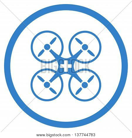 Medical Air Copter vector icon. Style is flat circled symbol, cobalt color, rounded angles, white background.