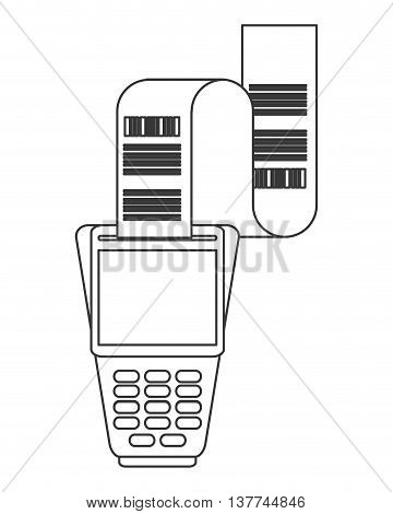 flat design dataphone with receipt icon vector illustration line design
