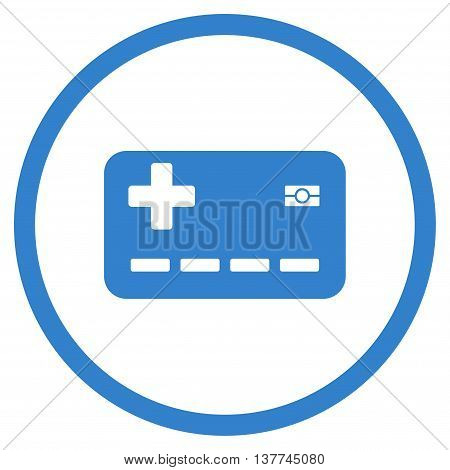 Medical Insurance Card vector icon. Style is flat circled symbol, cobalt color, rounded angles, white background.