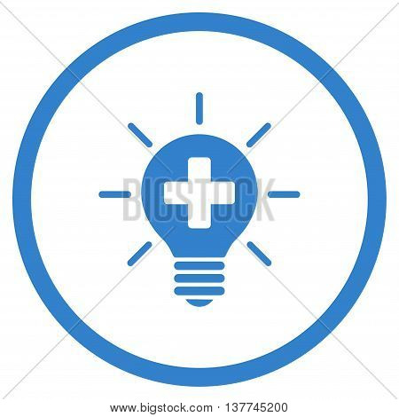 Medical Lamp vector icon. Style is flat circled symbol, cobalt color, rounded angles, white background.