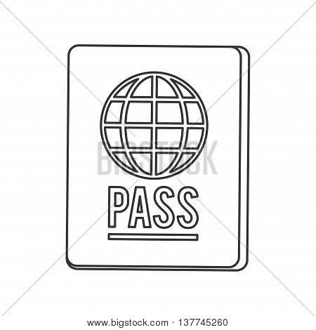 flat design passport with earth diagram icon vector illustration line design