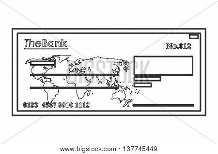 flat design bank check icon vector illustration line design