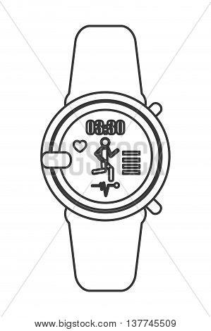 flat design heartrate wrist monitor icon vector illustration line design