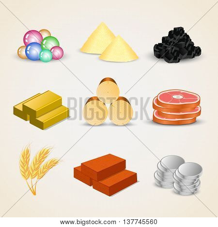 Resource and food icons for games - vector Illustration