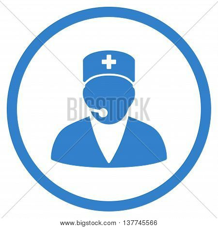 Medical Operator vector icon. Style is flat circled symbol, cobalt color, rounded angles, white background.