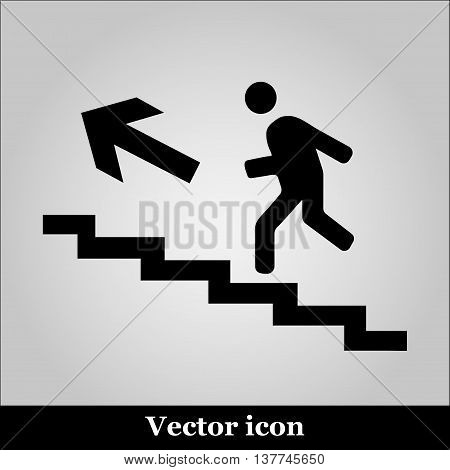 Vector of man on stairs icon on grey background
