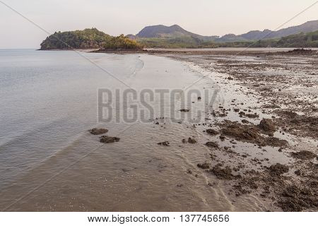 Low tide beach in the evening at Ko Yao Noi, Phang Nga province, Thailand