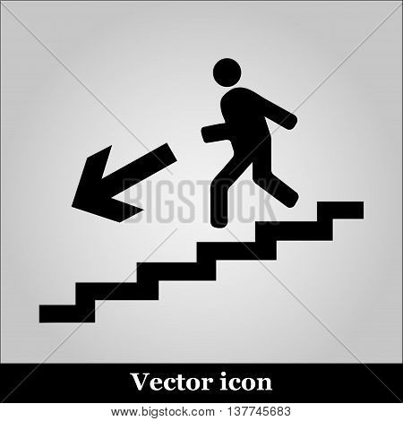Man on Stairs going down symbol on grey background
