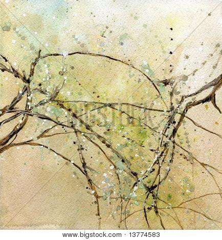 Ilustración de varias ramas de los árboles con hojas frescas sobre ellos