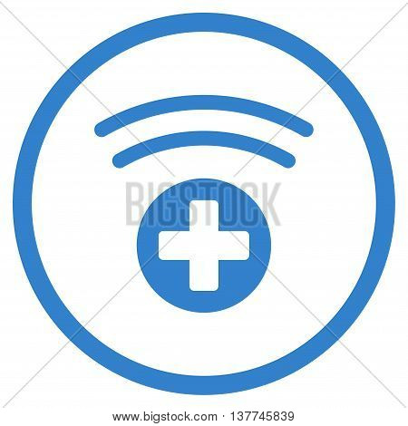 Medical Source vector icon. Style is flat circled symbol, cobalt color, rounded angles, white background.