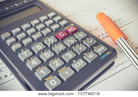 Business Composition Of Bills, Calculator, Pen And Various Stati