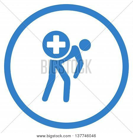 Medication Courier vector icon. Style is flat circled symbol, cobalt color, rounded angles, white background.