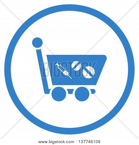 Medication Shopping Cart vector icon. Style is flat circled symbol, cobalt color, rounded angles, white background.