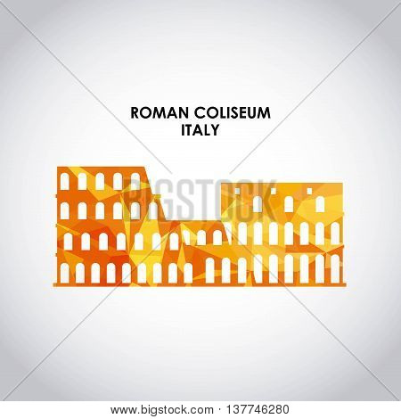Italy culture concept represented by roman coliseum icon. Colorfull and Polygonal illustration.