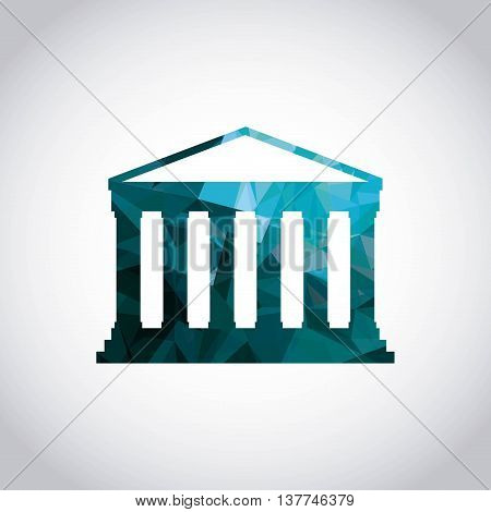 Italy culture concept represented by greek temple icon. Colorfull and polygonal illustration.