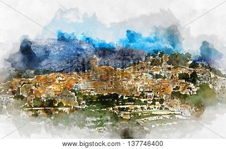 Digital watercolor painting of a spanish village Polop de la Marina. Province of Alicante Costa Blanca. Spain