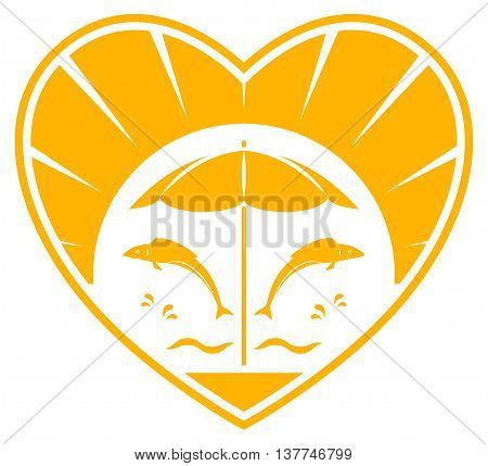 vector fishes jumping over the waves and beach umbrella in heart isolated on white background