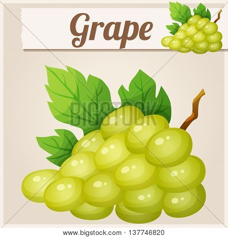 White grape. Cartoon vector icon. Series of food and drink and ingredients for cooking.