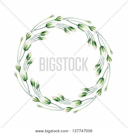 Round composition with white rosebud isolated on white background. Watercolor illustration